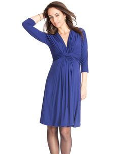 <p>Our signature knot front maternity dress is now available in a chic 3/4 length sleeve. This elegant maternity dress in a regal royal blue exudes an air of understated glamour without compromising on comfort in a soft silk like jersey. The elegant knot front style, worn and loved in a short sleeved version by the Duchess of Cambridge, creates ultra-flattering gathers ...