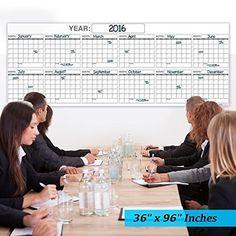 "Dry Erase Wall Calendar - Blank Annual - No Dates and reusable 36""x96"""