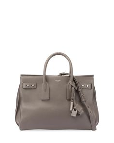 SAINT LAURENT Medium Sac De Jour Tote Bag, Light Gray. #saintlaurent #bags #shoulder bags #hand bags #leather #tote #