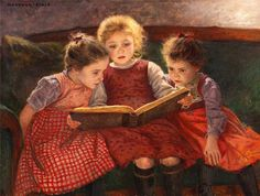 Three Reading Girls - Walther Firle German painter 1859-1929
