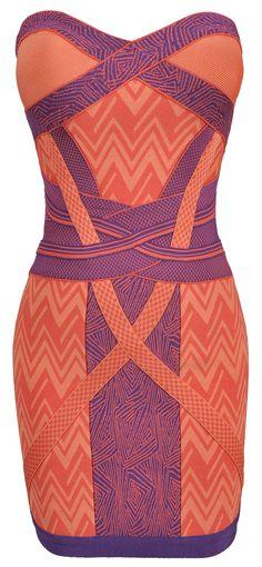 Geometric Coral Strapless Bandage Dress