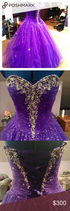 """Ballroom-Style Princess Gown Beautiful strapless ballgown with a sweetheart neckline. Originally a $600 dress! Size 8, but due to adjustability, it can fit most between sizes 6-10. Appropriate for a female between 5'3"""" and 5'5"""" tall. Mori Lee Dresses Prom"""