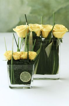 pretty yellow roses.. and like the small slice of lime or lemon w/ it.. easier than cutting a ton of them!!