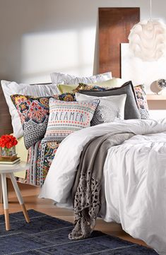Dreamy cotton voile composes a shabby-chic bedding for an easy, vintage aesthetic.