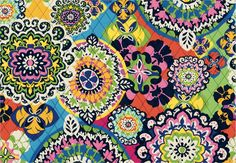 My new favorite Vera Bradley pattern. A kaleidoscope of exuberant pinks, blues, yellow and green cavorts alongside brilliant orange. The design evokes the vivid spirit of Brazil's Carnaval. Lines with a parade of blossom dots on a vibrant-orange field. Textiles, Textile Patterns, Fabric Design, Pattern Design, Fall Fashion Colors, Vera Bradley Patterns, Beautiful Patterns, Pattern Wallpaper, Color Pop