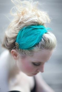 handmade aqua green feather headband, hairpiece, with vintage jewelry accent