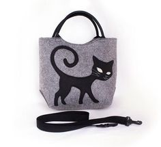 Felted bag Grey cat bag Mini satchel Women s handbag Cat purse Top handles  bag Attachable removable ea01de002665b