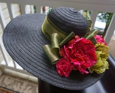 Kentucky derby hat Ladies black tea party hat with by girlylittle