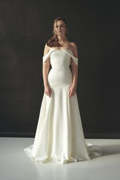Off-the-shoulder wedding dress Minimalist wedding dress Modern wedding dress Off shoulder crepe bridal gown Open shoulders sexy dress AESTA – Wedding Gown Minimalist Wedding Dresses, Elegant Wedding Gowns, Lace Wedding, Mermaid Wedding, Wedding Dresses Non Traditional, Wedding Ceremony, Dress Off Shoulder, One Shoulder Wedding Dress, Western Wedding Dresses