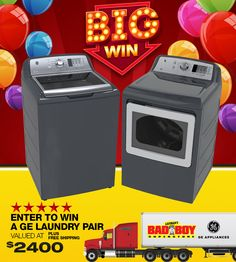Enter to win a GE Laundry Pair from Lastman's  Bad Boy