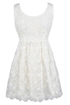 Dimensional Floral Ivory Lace Sundress  www.lilyboutique.com