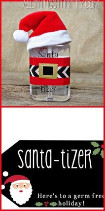 "Stocking stuffer, teacher or neighbor gift idea, simple ""I'm thinking of you"" Christmas Gift using hand ""santa-tizer"""