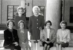 First Ladies. There's so much grace in this photo. Front row, left to right: Lady Bird Johnson, Patricia Nixon, Rosalind Carter, Betty Ford. Back row, left to right: Nancy Reagan and Barbara Bush.