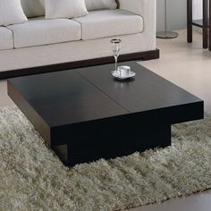 Tahiti Contemporary Square Motion Storage Coffee Table Shop modern Italian and luxury furniture, Prime Classic Design Black Square Coffee Table, Cool Coffee Tables, Coffee Table With Storage, Coffee Table Design, Modern Coffee Tables, Design Table, Centre Table Living Room, Center Table, Convertible Coffee Table