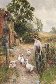 Tending the Geese ~ Ernest Walbourn ~ (English: - Painting Paintings I Love, Beautiful Paintings, Farm Art, Cottage Art, Victorian Art, Artist Painting, Pretty Pictures, Oeuvre D'art, Painting Inspiration