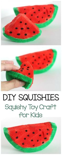 How to Make Squishies Toys: DIY Squishy Toy- fun craft for kids and a great sensory material to help with fidgeting, stress, or calming down. The post includes tips for doing this project with younger children. ~ BuggyandBuddy.com #squishies #homemadetoys #sensoryplay #watermeloncraft #summercraft
