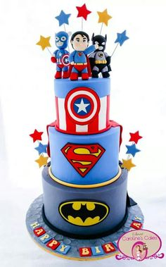 Superhero themed cake - For all your cake decorating supplies, please visit craftcompany.co.uk
