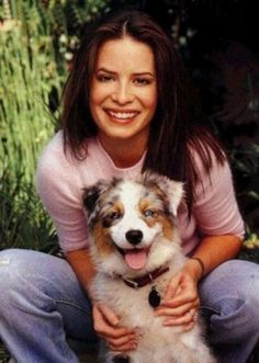 Holly Marie Combs and her Australian Shepherd Lola