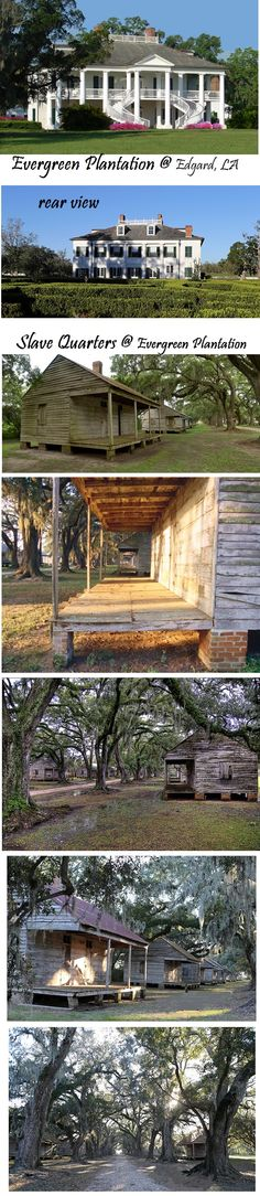 Evergreen Plantation  and its slave cabins.  Evergreen Plantation in Edgard, LA is the only plantation left on River Road to still have all of its original slave cabins in all of their original locations