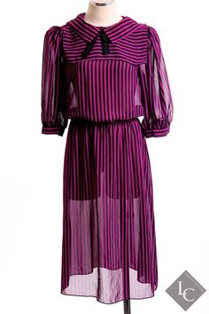 Handmade vintage women's purple and black striped by LondonCouture, $40.00