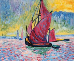 """The Red Sails"" is a bright nautical painting by the fauvist artist Andre Derain. #homedecor #nautical #art"