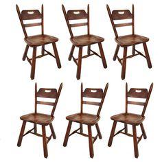 Six Hard Rock Vermont Maple Americana Dining Chairs, Herman DeVries For  Cushman 1