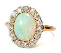 Vintage Opal and Diamond cluster ring by itskeeshacooper