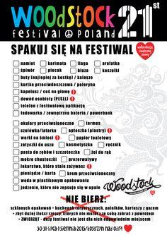 Co zabrać na Festiwal?  Przygotowaliśmy dla Was listę, która, mamy nadzieję, pomoże Wam o niczym nie zapomnieć.