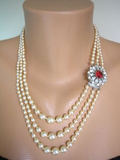 Pearl And Ruby Necklace Pearl Choker Mother of the Bride