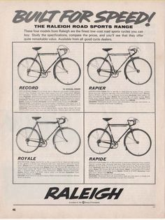 RALEIGH BICYCLES - RECORD / RAPIER / ROYALE / RAPIDE (1965 Advertisement) | eBay