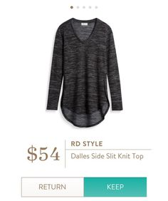 RD Style Dalles Side Slit Knit Top {SL:  I like the heathered look of this top and that it appears to be long - perhaps to wear w/leggings and boots?}