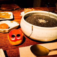 This sesame porridge made me healthy!! Yum. #mizumushikun #Kyoto #healthy #vegetarian #vegetarianfood #koreanfood #medical #yummy #foodie #sesame #porridge