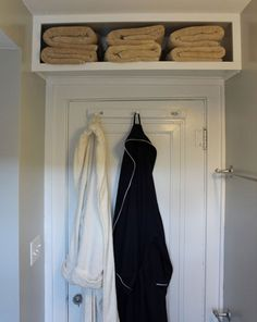 Build Shelf Above Door For Bulky Items | 15 Small Bathroom Decorating Ideas on a Budget | Small Bathroom Design Ideas