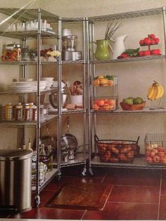 "Commercial-quality Steel Shelving Unit from Frontgate.  18"" Deep Four-tier Standard Shelf (36""W x 70 1/2""H) $179. 18"" Deep Four-tier Standard Corner Shelf (27""W x 70 1/2""H) $249. I WANT these shelves in my pantry to store small appliances, dishes & food!"