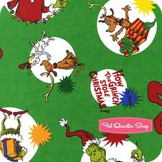How the Grinch Stole Christmas Cotton Holiday Grinch and Max Spots Yardage SKU# 11229-223