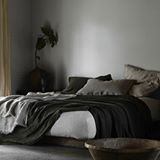 INSPIRATION: It's hard to get out of bed when it's cold outside we know. But today we're excited to be jumping up from our cozy cocoon and heading out the door to attend the first day of @denfair where we will see more of this beautiful linen from @bedouinsocietelinens If you're heading to DENFAIR too stop by the est stand to say hi! #melbourne #designfair #denfair #instadesign #designinspo #bedlinen #bedroom #linen
