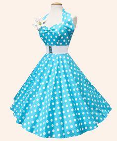 50s Halterneck Polka dot Dress from Vivien of Holloway   1950s Dresses from Vivien of Holloway