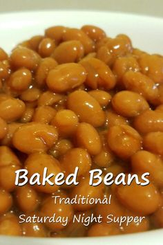 Baked Beans - Traditional Saturday night supper in New England is baked beans, red hot dogs and brown bread. Give this one-pot recipe a try! via @RobinFollette