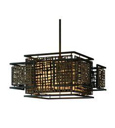 Corbett Lighting Shoji 3 Light Pendant Dining in Bonsai Bronze 105-44 #Corbett
