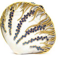 Verdura Shell, Sapphire, Daimond, Gold