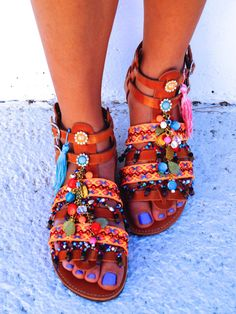 Spartan leather sandals decorated with Ethnic by MabuByMariaBk