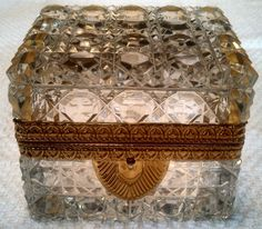 Vintage French Cut Crystal Hinged Jewelry Casket/Trinket Box