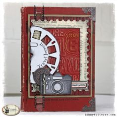 A few days ago I shared my new art journal that I created using a vintage book. Today I have a travel journal that I also created with a vintage book. I created this book to feature new dies by Ti… Mini Albums, Mini Scrapbook Albums, Travel Scrapbook, Altered Books, Altered Art, Timmy Time, Camera Cards, Tim Holtz Dies, Create This Book