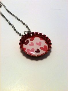 Little hearts bottle cap necklace by LillypadPark on Etsy, $4.95