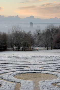 The Canterbury Labyrinth, University of Kent. Frosty Dawn, Canterbury Cathedral.