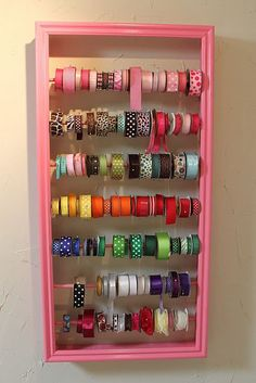 Ribbon storage for the craft room. Ribbon Organization, Ribbon Storage, Craft Organization, Organizing Tips, Ribbon Display, Tape Storage, Space Crafts, Home Crafts, Ribbon Holders