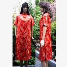 Vintage Cheongsam Style Dress Red Silk Brocade Size 10