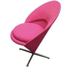 1stdibs   Cone Chair in Original Fabric by Verner Panton circa 1960 Denmark