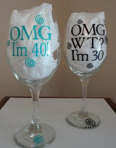 Personalized Wine Glasses. Love the 30!