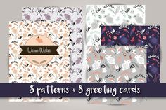 8 patterns + 8 greeting cards by Blue Lela Illustrations on Creative Market